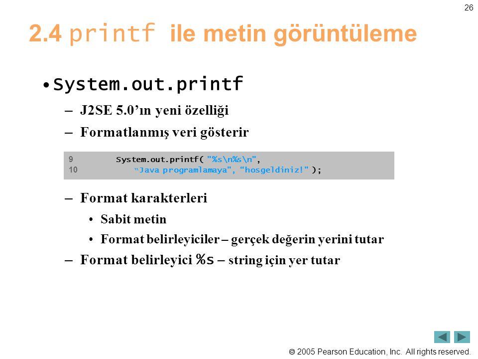 2.4 printf ile metin görüntüleme