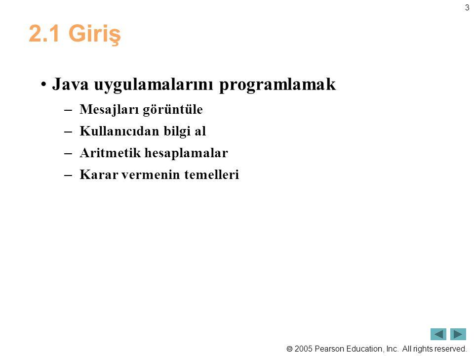 2.1 Giriş Java uygulamalarını programlamak Mesajları görüntüle