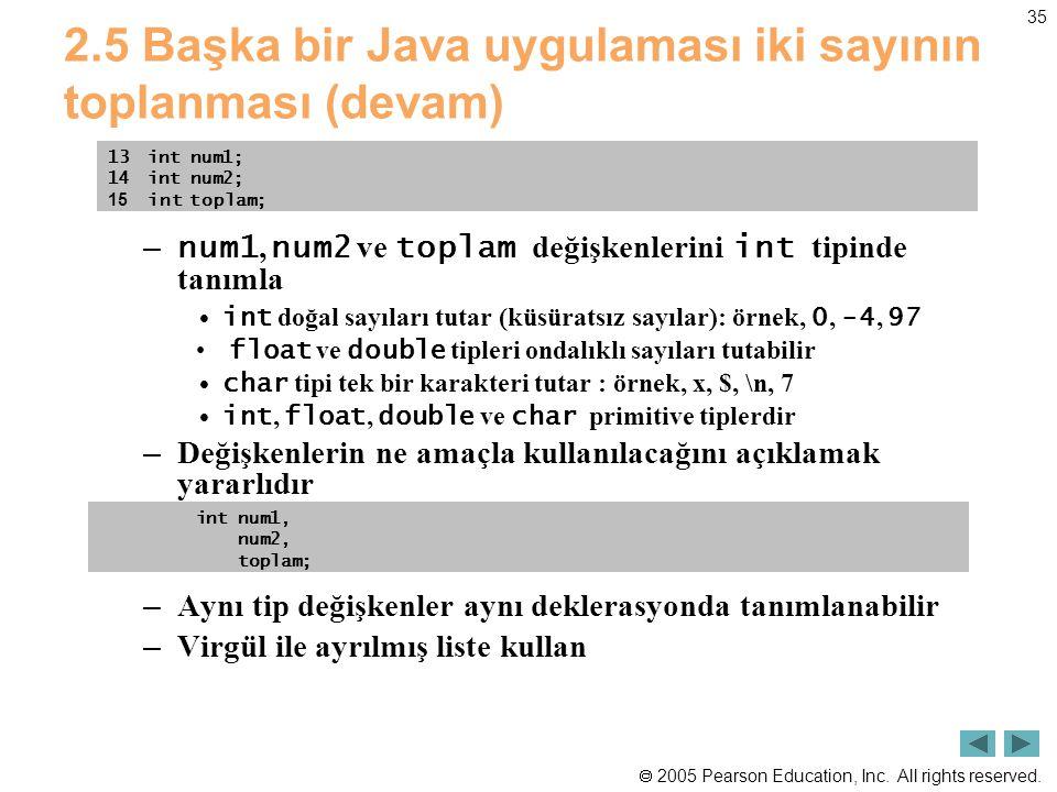 2.5 Başka bir Java uygulaması iki sayının toplanması (devam)