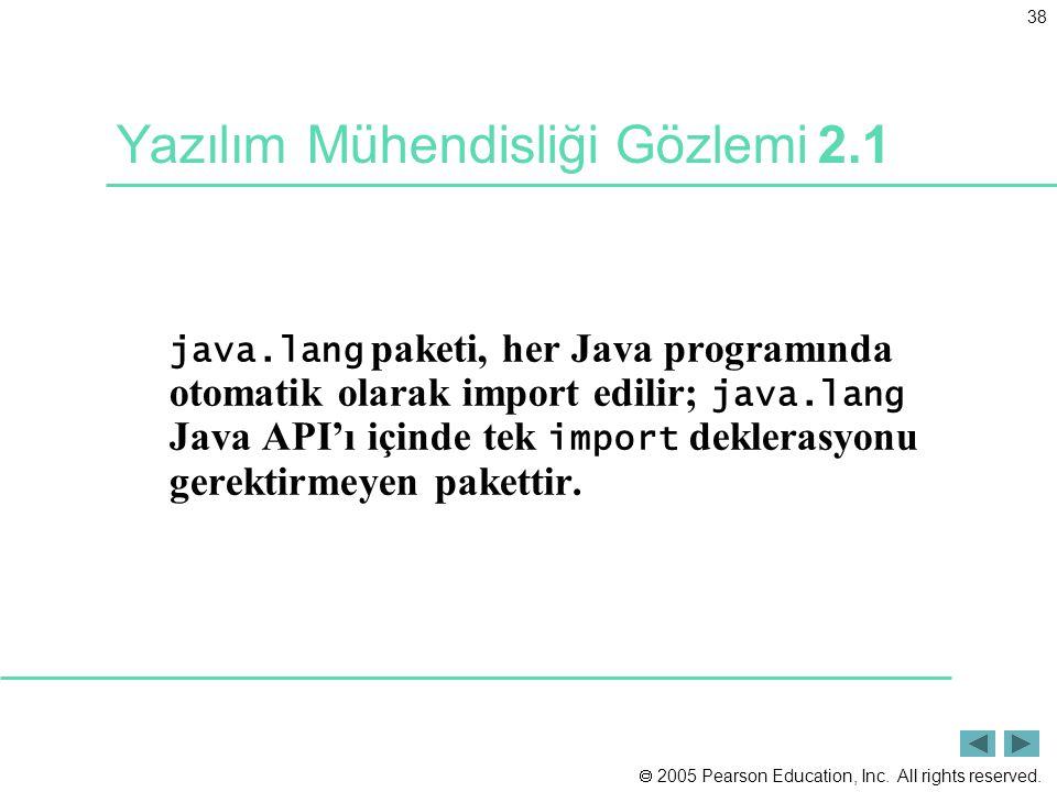 Yazılım Mühendisliği Gözlemi 2.1