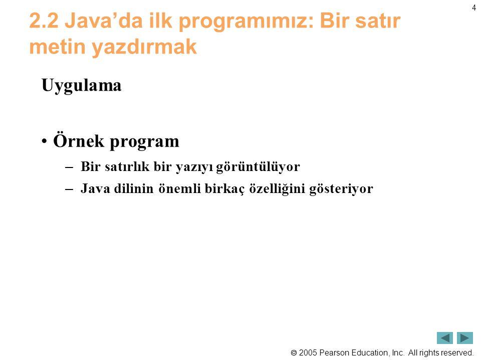 2.2 Java'da ilk programımız: Bir satır metin yazdırmak
