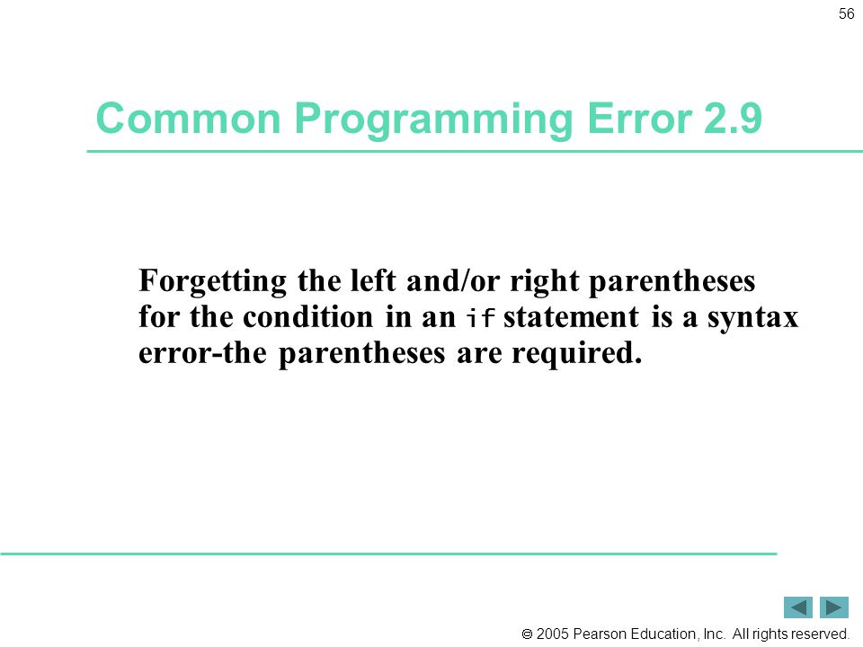 Common Programming Error 2.9