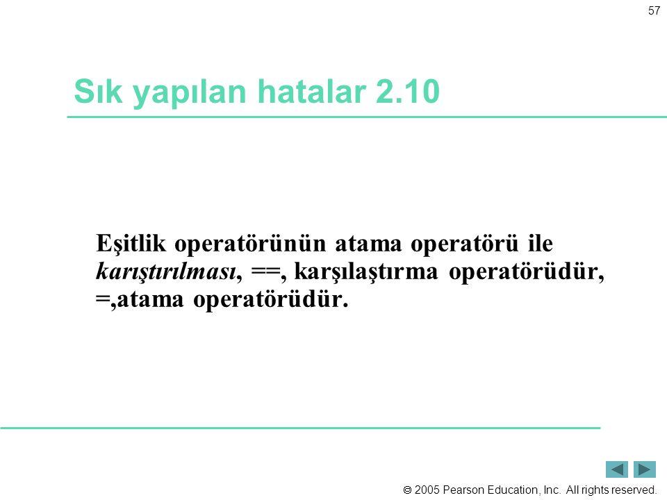 Sık yapılan hatalar 2.10 Eşitlik operatörünün atama operatörü ile karıştırılması, ==, karşılaştırma operatörüdür, =,atama operatörüdür.