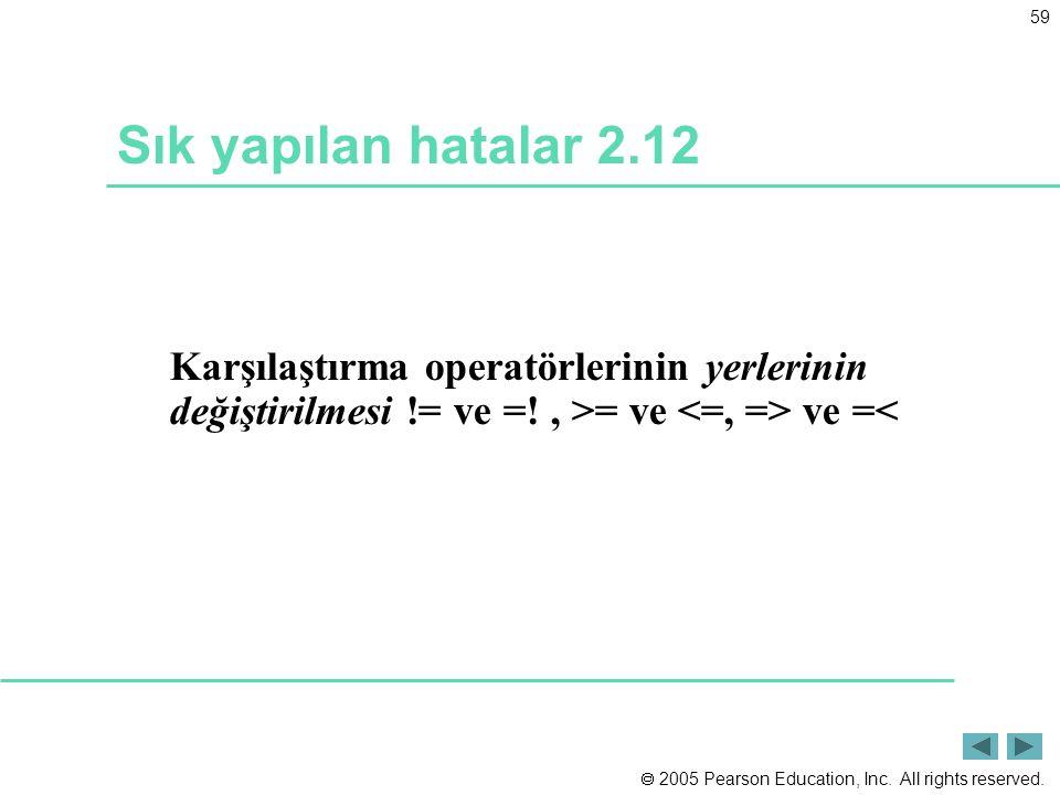Sık yapılan hatalar 2.12 Karşılaştırma operatörlerinin yerlerinin değiştirilmesi != ve =.