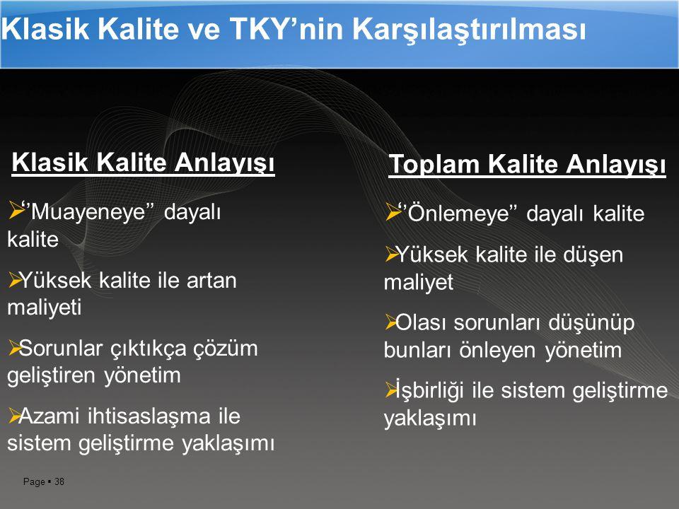 Klasik Kalite ve TKY'nin Karşılaştırılması