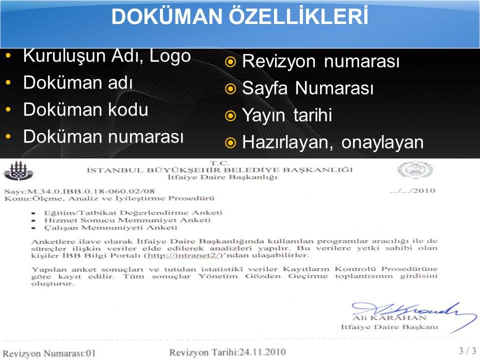 DOKÜMAN ÖZELLİKLERİ Kuruluşun Adı, Logo Revizyon numarası Doküman adı