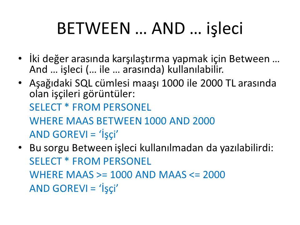 BETWEEN … AND … işleci İki değer arasında karşılaştırma yapmak için Between … And … işleci (… ile … arasında) kullanılabilir.