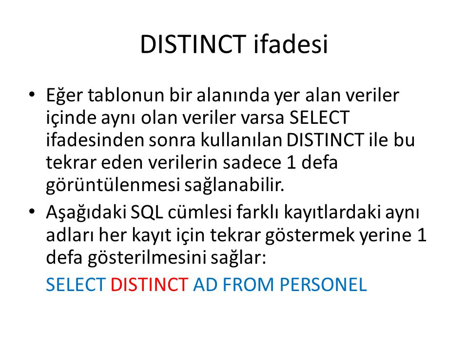 DISTINCT ifadesi