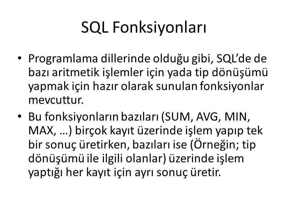 SQL Fonksiyonları