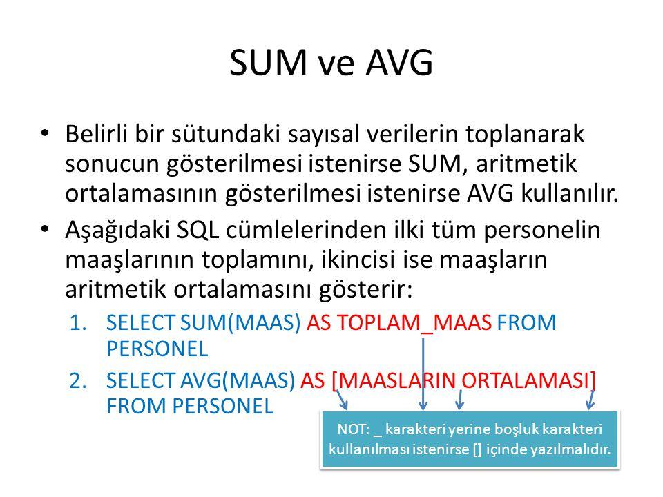 SUM ve AVG