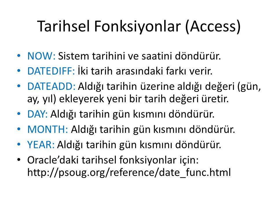 Tarihsel Fonksiyonlar (Access)