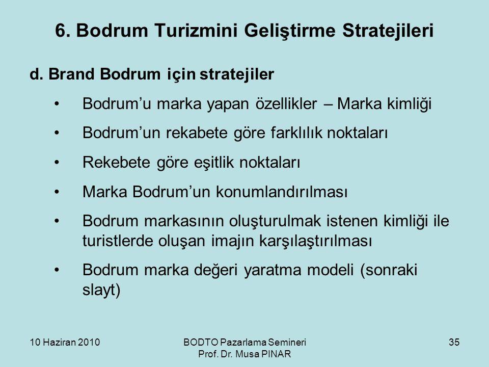 6. Bodrum Turizmini Geliştirme Stratejileri