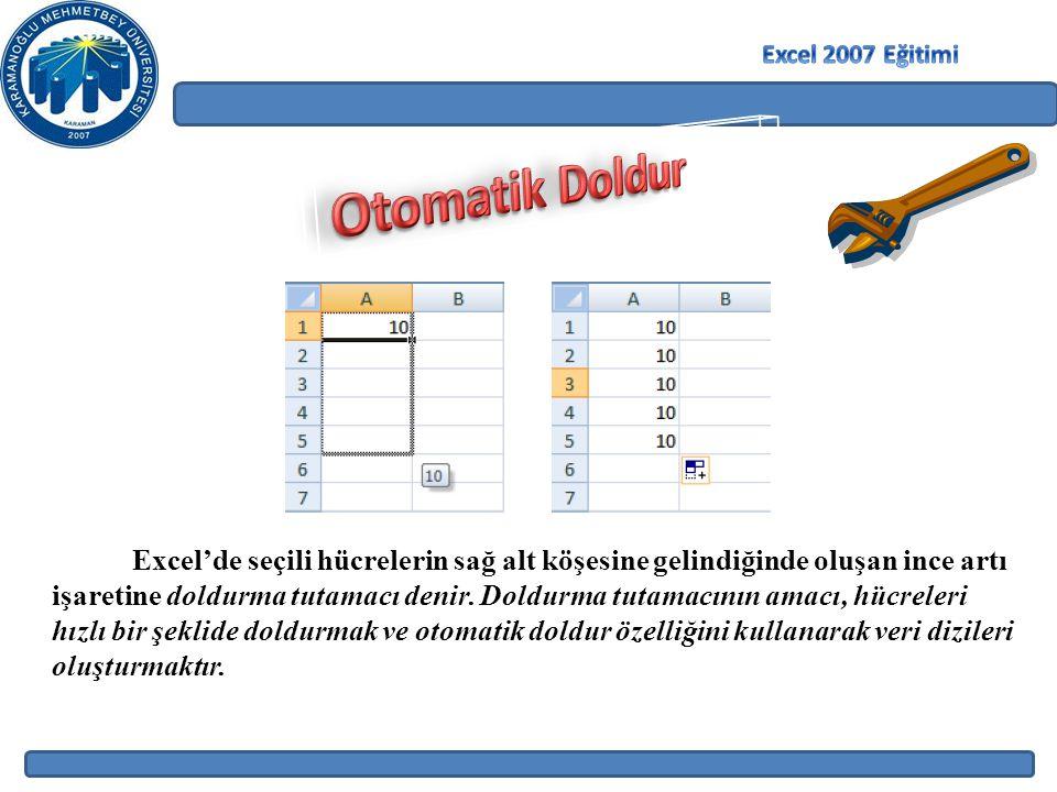 Excel 2007 Eğitimi Otomatik Doldur.