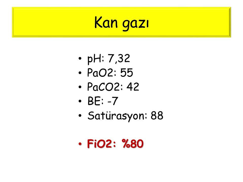 Kan gazı pH: 7,32 PaO2: 55 PaCO2: 42 BE: -7 Satürasyon: 88 FiO2: %80