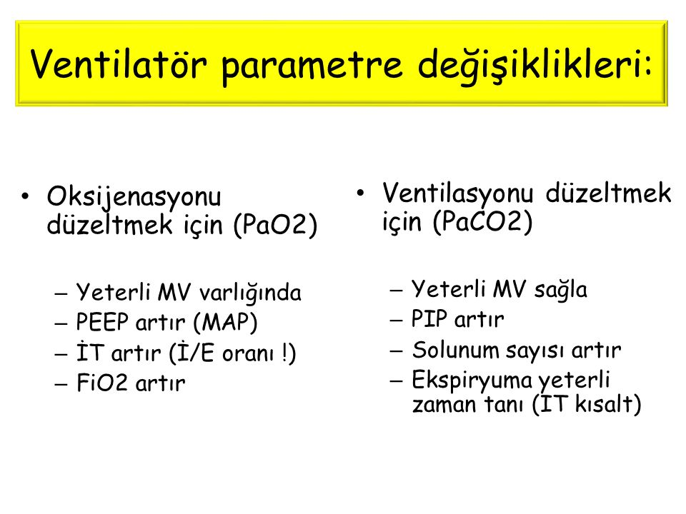 Ventilatör parametre değişiklikleri: