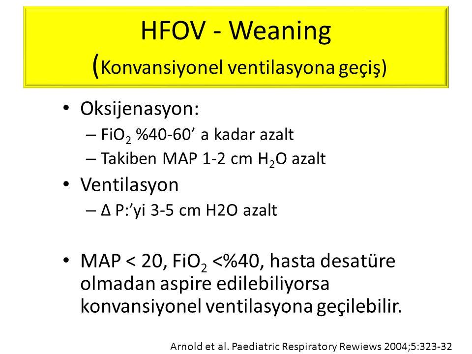 HFOV - Weaning (Konvansiyonel ventilasyona geçiş)