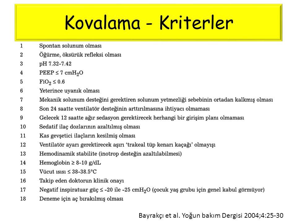 Kovalama - Kriterler Bayrakçı et al. Yoğun bakım Dergisi 2004;4:25-30