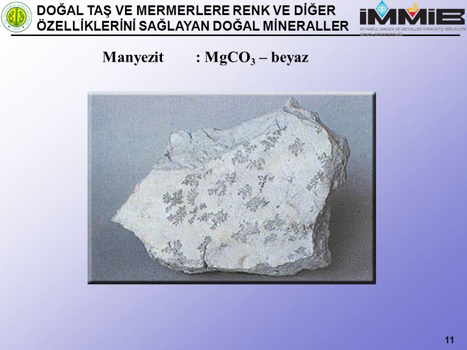 Manyezit : MgCO3 – beyaz DOĞAL TAŞ VE MERMERLERE RENK VE DİĞER