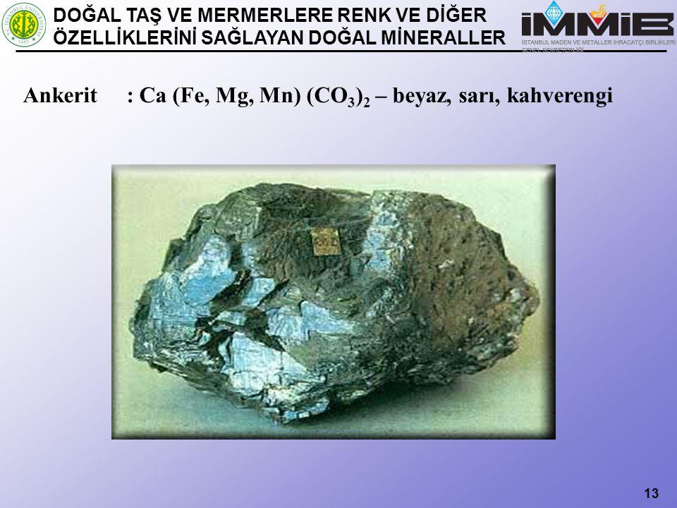 Ankerit : Ca (Fe, Mg, Mn) (CO3)2 – beyaz, sarı, kahverengi