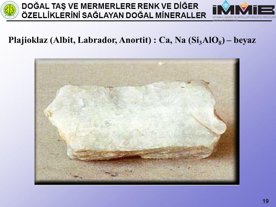 Plajioklaz (Albit, Labrador, Anortit) : Ca, Na (Si3AlO8) – beyaz
