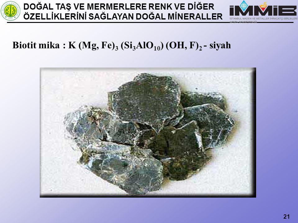 Biotit mika : K (Mg, Fe)3 (Si3AlO10) (OH, F)2 - siyah