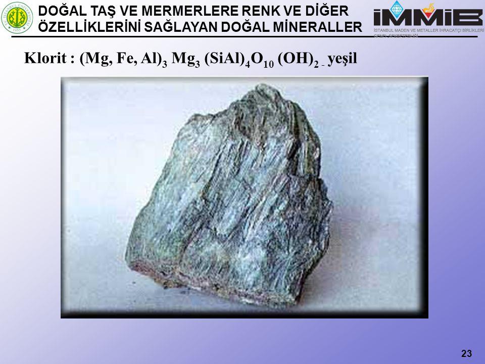 Klorit : (Mg, Fe, Al)3 Mg3 (SiAl)4O10 (OH)2 - yeşil