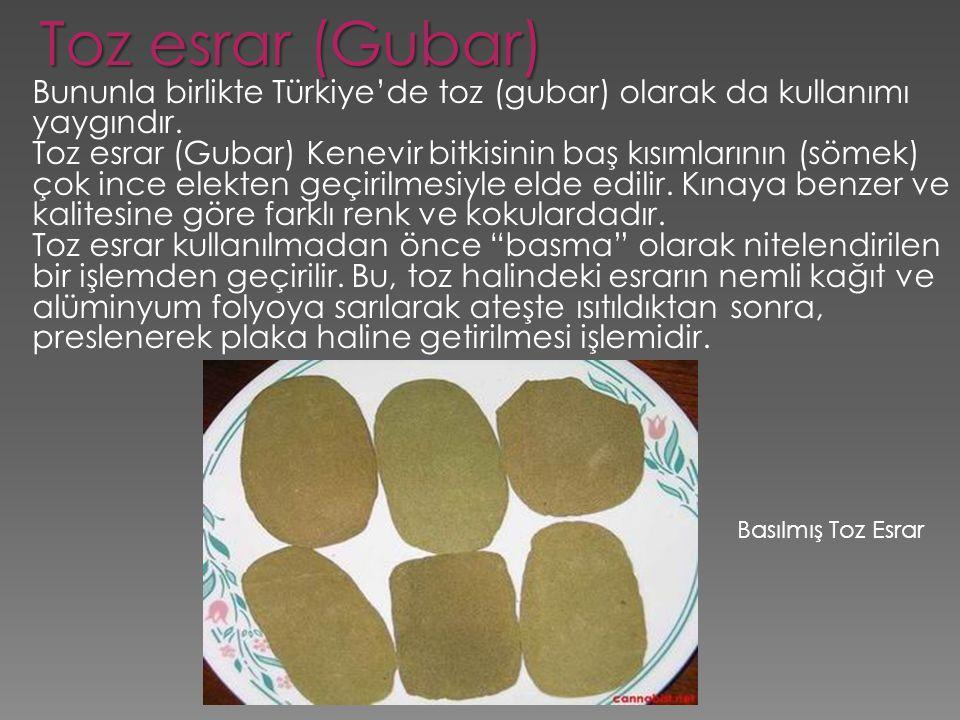 Toz esrar (Gubar) Bununla birlikte Türkiye'de toz (gubar) olarak da kullanımı yaygındır.