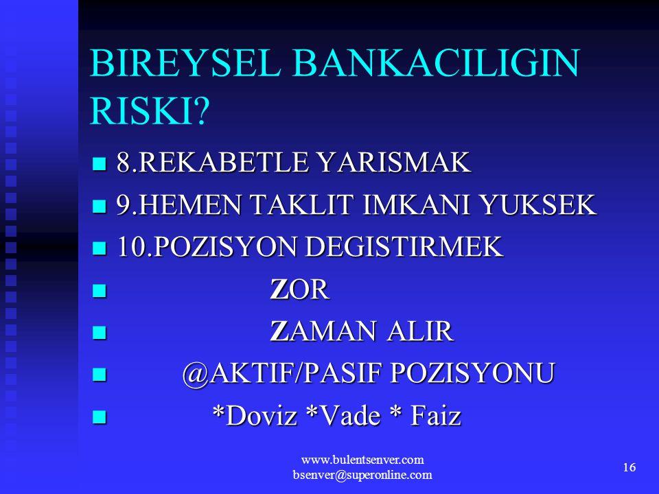 BIREYSEL BANKACILIGIN RISKI