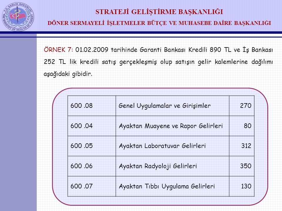 ÖRNEK 7: 01.02.2009 tarihinde Garanti Bankası Kredili 890 TL ve İş Bankası 252 TL lik kredili satış gerçekleşmiş olup satışın gelir kalemlerine dağılımı aşağıdaki gibidir.