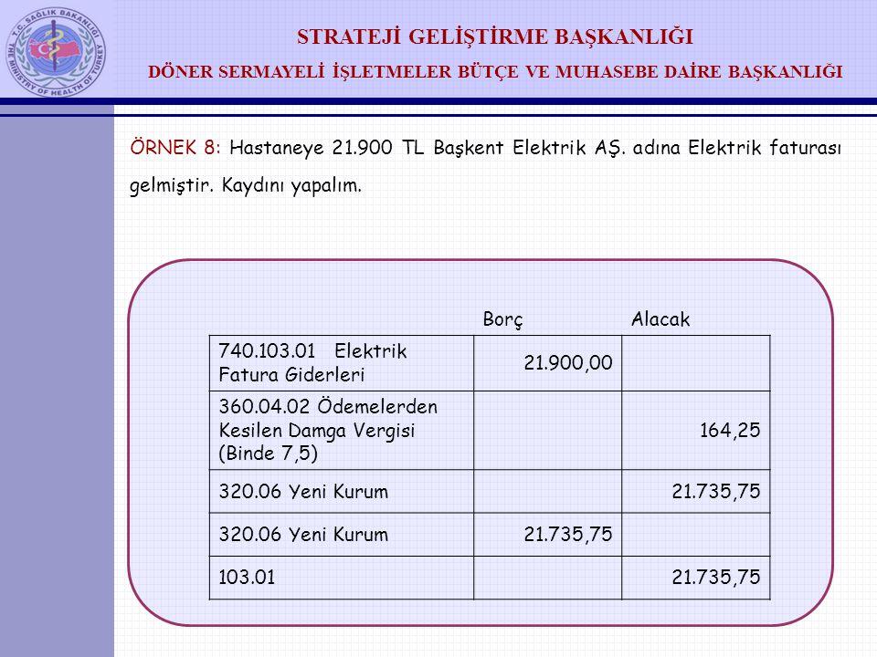 ÖRNEK 8: Hastaneye 21. 900 TL Başkent Elektrik AŞ