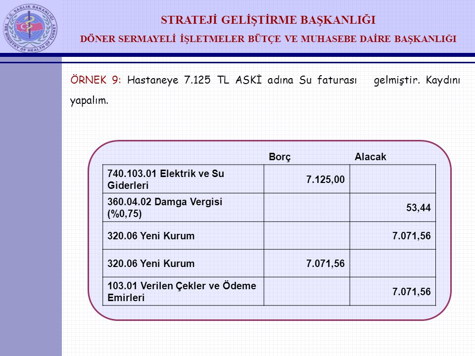 ÖRNEK 9: Hastaneye 7. 125 TL ASKİ adına Su faturası gelmiştir