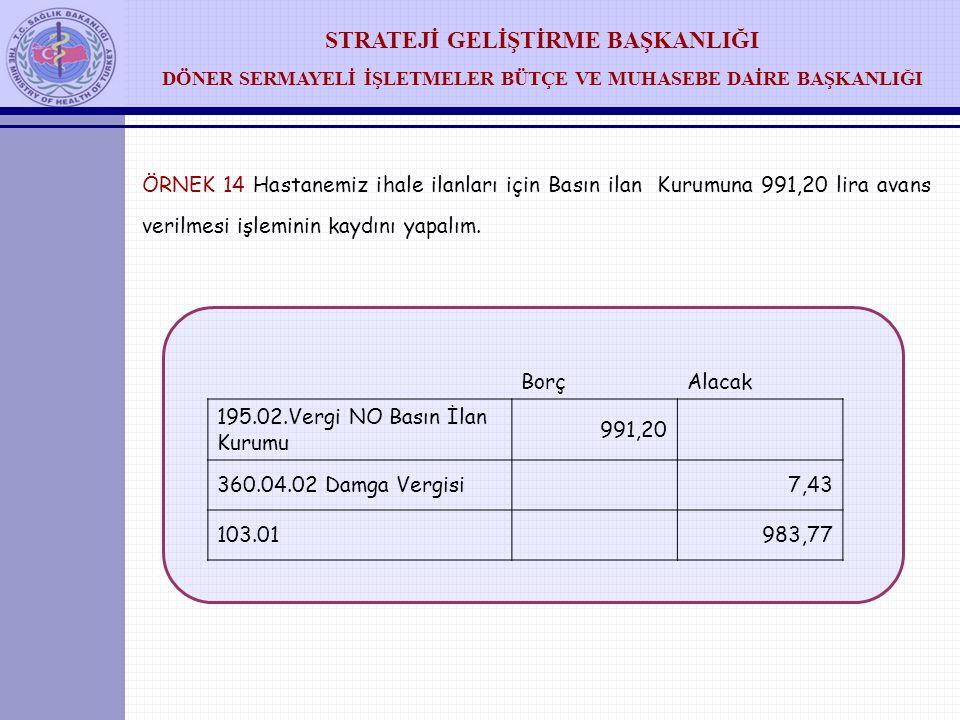 ÖRNEK 14 Hastanemiz ihale ilanları için Basın ilan Kurumuna 991,20 lira avans verilmesi işleminin kaydını yapalım.