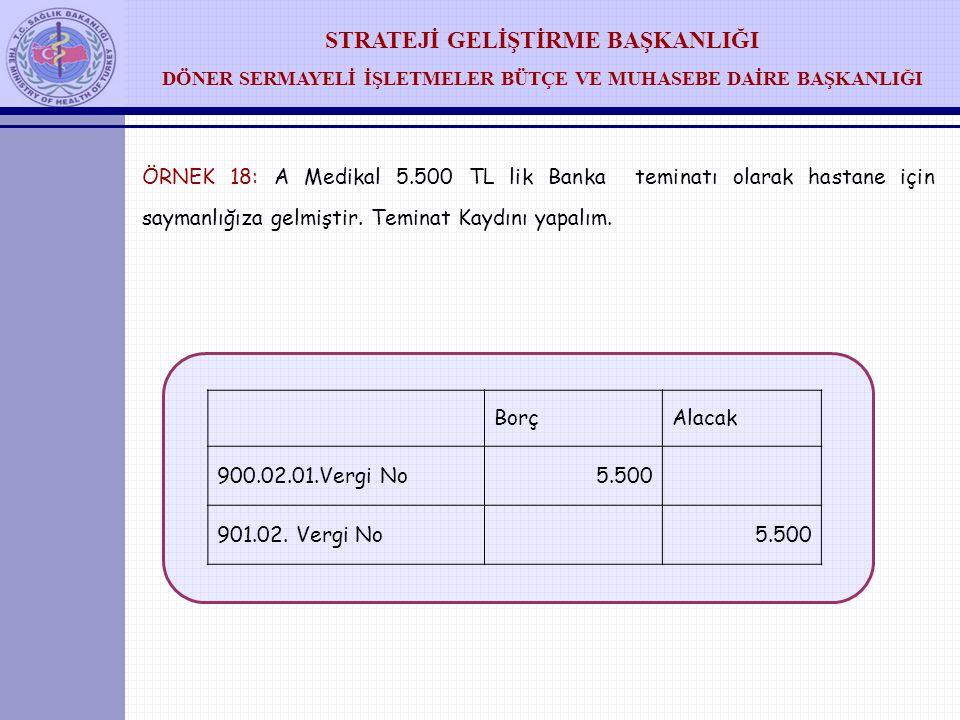 ÖRNEK 18: A Medikal 5.500 TL lik Banka teminatı olarak hastane için saymanlığıza gelmiştir. Teminat Kaydını yapalım.