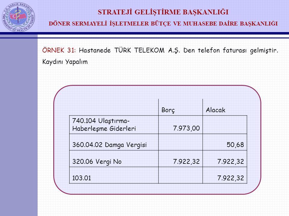 ÖRNEK 31: Hastanede TÜRK TELEKOM A. Ş. Den telefon faturası gelmiştir