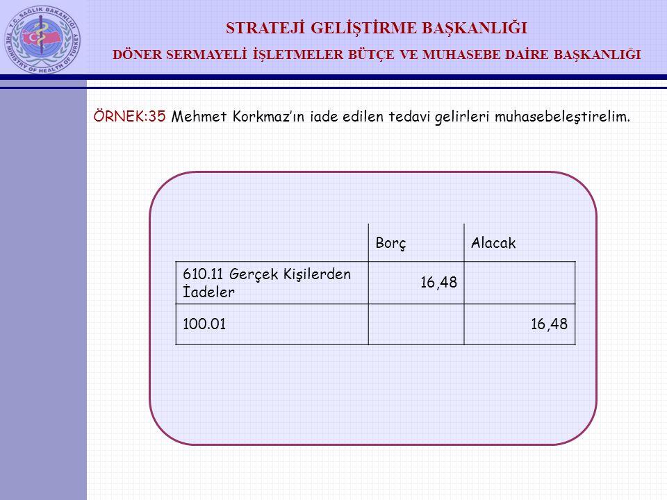 ÖRNEK:35 Mehmet Korkmaz'ın iade edilen tedavi gelirleri muhasebeleştirelim.