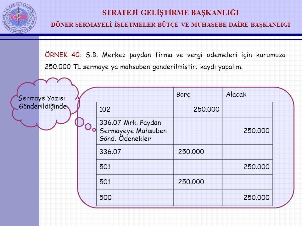 ÖRNEK 40: S.B. Merkez paydan firma ve vergi ödemeleri için kurumuza 250.000 TL sermaye ya mahsuben gönderilmiştir. kaydı yapalım.