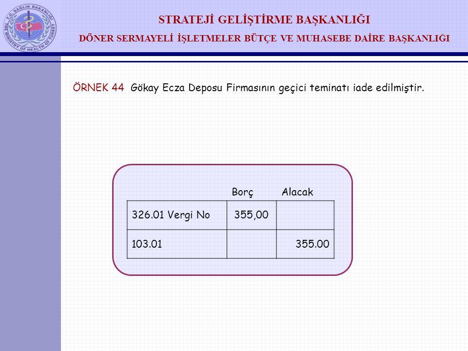 ÖRNEK 44 Gökay Ecza Deposu Firmasının geçici teminatı iade edilmiştir.
