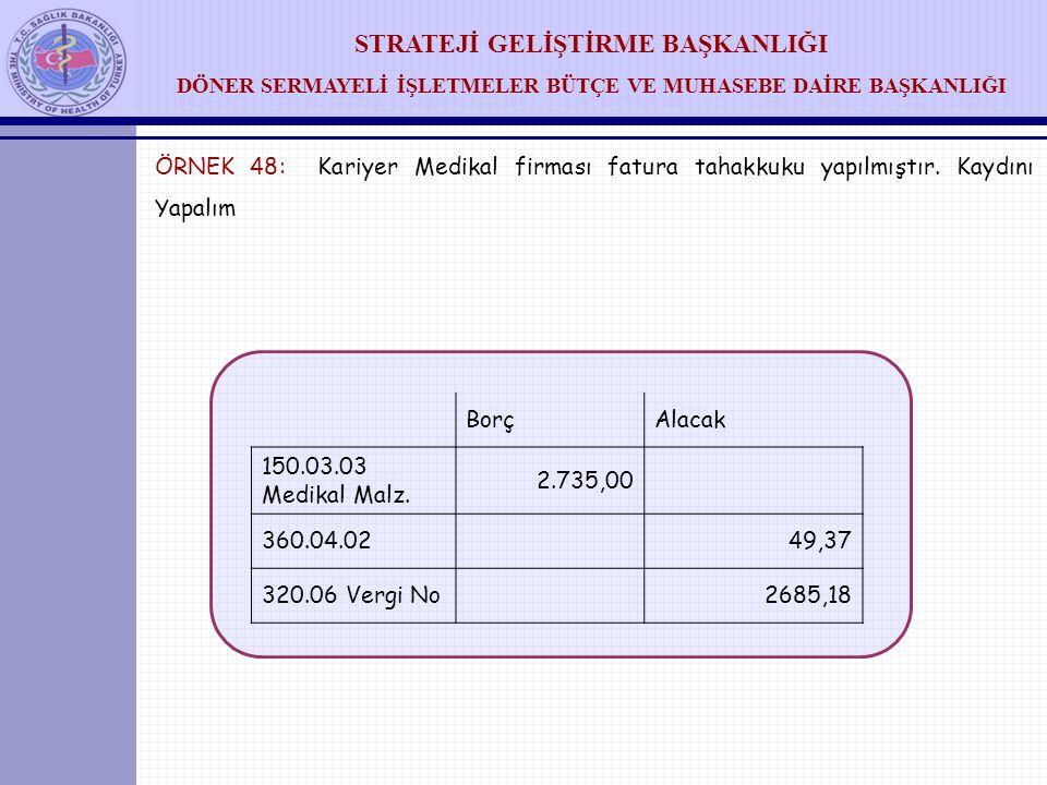 ÖRNEK 48: Kariyer Medikal firması fatura tahakkuku yapılmıştır
