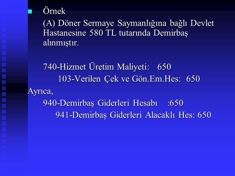 Örnek (A) Döner Sermaye Saymanlığına bağlı Devlet Hastanesine 580 TL tutarında Demirbaş alınmıştır.