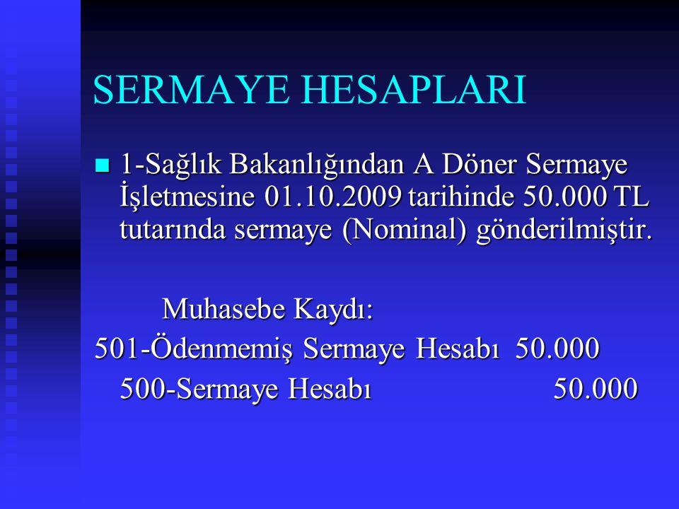 SERMAYE HESAPLARI 1-Sağlık Bakanlığından A Döner Sermaye İşletmesine 01.10.2009 tarihinde 50.000 TL tutarında sermaye (Nominal) gönderilmiştir.
