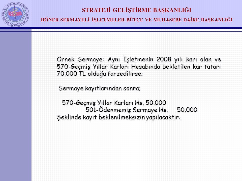 Örnek Sermaye: Aynı İşletmenin 2008 yılı karı olan ve 570-Geçmiş Yıllar Karları Hesabında bekletilen kar tutarı 70.000 TL olduğu farzedilirse;