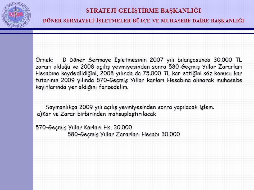 Örnek: B Döner Sermaye İşletmesinin 2007 yılı bilançosunda 30