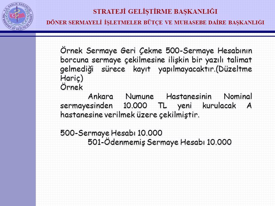 Örnek Sermaye Geri Çekme 500-Sermaye Hesabının borcuna sermaye çekilmesine ilişkin bir yazılı talimat gelmediği sürece kayıt yapılmayacaktır.(Düzeltme Hariç)