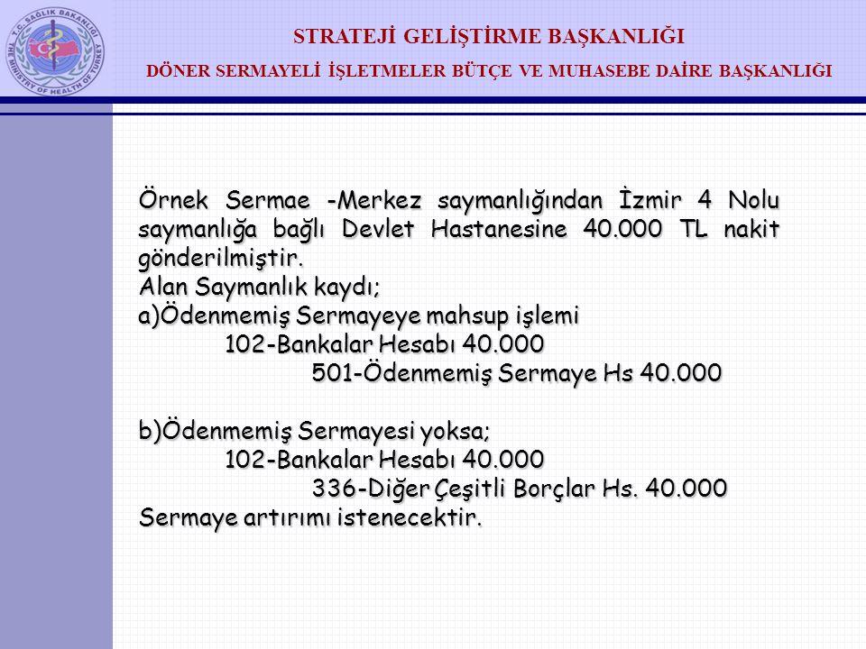 Örnek Sermae -Merkez saymanlığından İzmir 4 Nolu saymanlığa bağlı Devlet Hastanesine 40.000 TL nakit gönderilmiştir.