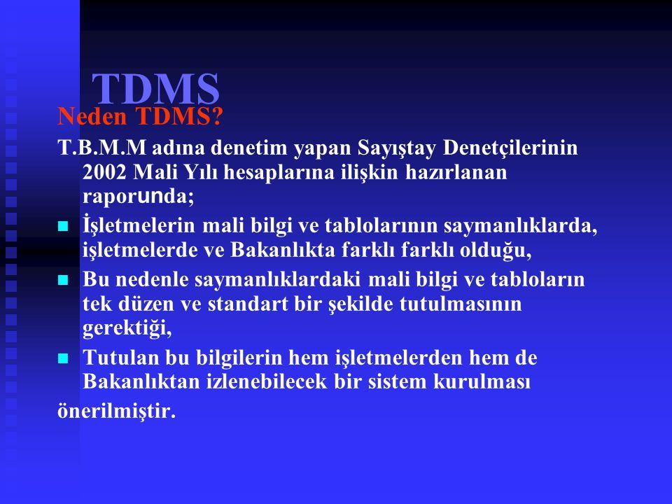 TDMS Neden TDMS T.B.M.M adına denetim yapan Sayıştay Denetçilerinin 2002 Mali Yılı hesaplarına ilişkin hazırlanan raporunda;