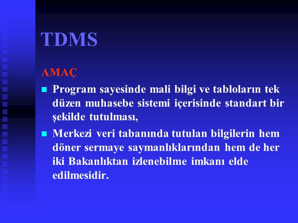 TDMS AMAÇ. Program sayesinde mali bilgi ve tabloların tek düzen muhasebe sistemi içerisinde standart bir şekilde tutulması,