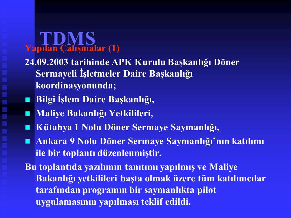 TDMS Yapılan Çalışmalar (1)