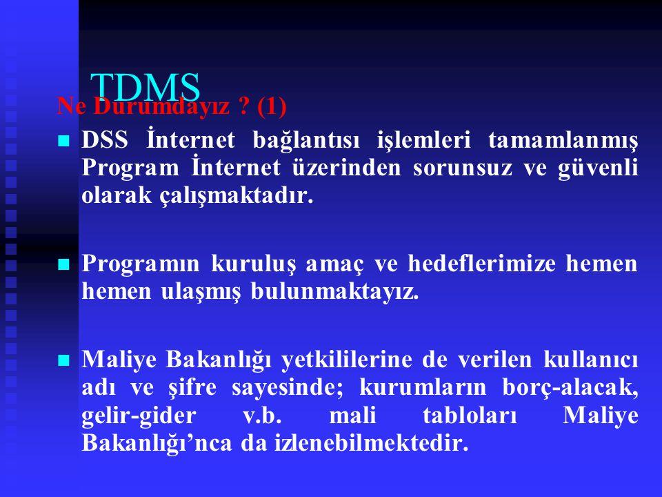 TDMS Ne Durumdayız (1) DSS İnternet bağlantısı işlemleri tamamlanmış Program İnternet üzerinden sorunsuz ve güvenli olarak çalışmaktadır.