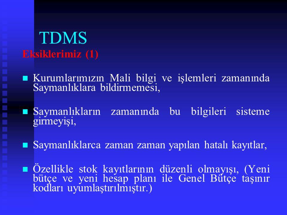 TDMS Eksiklerimiz (1) Kurumlarımızın Mali bilgi ve işlemleri zamanında Saymanlıklara bildirmemesi,