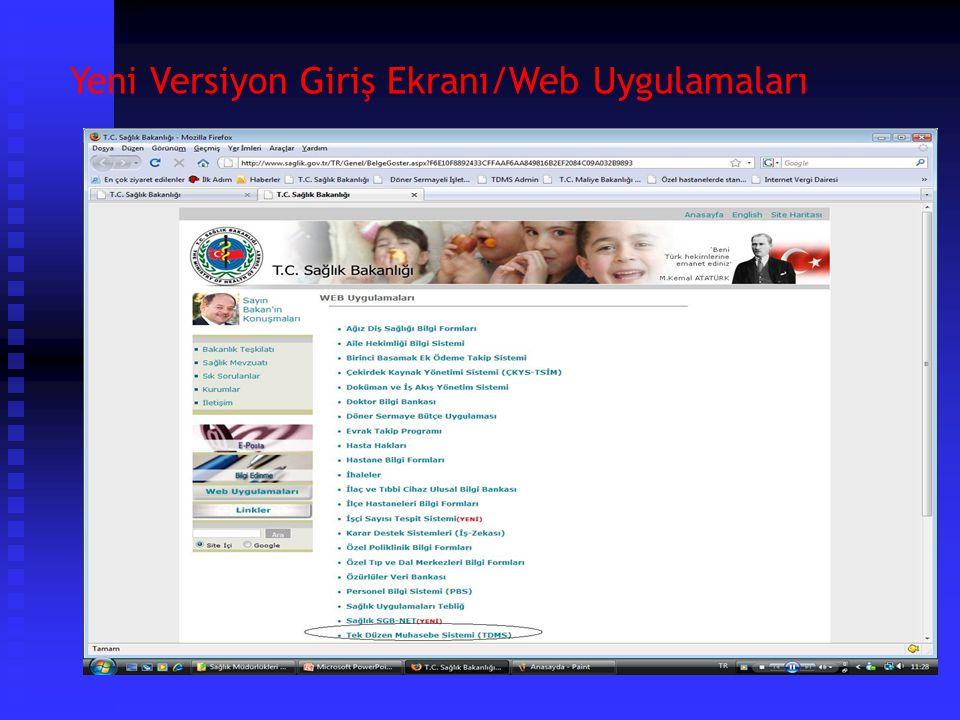 Yeni Versiyon Giriş Ekranı/Web Uygulamaları